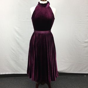 Ted Baker Cornela Pleated Velvet Midi Dress